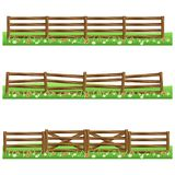 Set of farm wooden fences isolated on white background. With grass and flowers.Fits as scene elements for cartoon or game asset. Vector illustration Stock Images