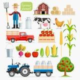 Set of farmer element. Farmer and Farm animals. Stock Photos