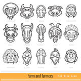 Set of Farmer Family and Farm Animals Outline Web Icons Stock Image