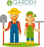 Set of farmer gardener man and woman in flat style Royalty Free Stock Images