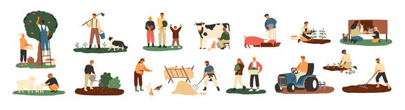 Set of farmers or agricultural workers planting crops, gathering harvest, collecting apples, feeding farm animals. Carrying fruits, milking cow, working on stock illustration