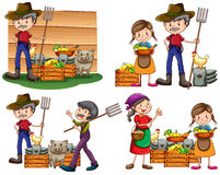 Set of farmers Royalty Free Stock Image