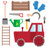 Set of farming harvesting and garden tools. In flat style. Agriculture, harvest or farm decorative icons. Vector illustration Stock Image
