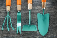 Set of farming tools on wooden board Royalty Free Stock Photography