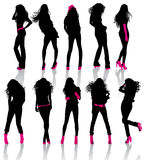Set of Fash of the girls with accessories and foot. Set of Fashion Silhouettes of the girls with pink accessories and footwear Royalty Free Stock Images