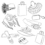 A set of fashion accessories. Various women's accessories Royalty Free Stock Photos