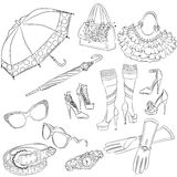 A set of fashion accessories. Various women's accessories Stock Photo