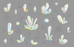 Set 18 fashion brightly colored diamonds hipster style. Stylish crystal. Set 18 isolated fashion brightly colored diamonds in hipster style. Stylish crystal vector illustration