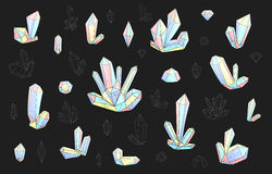 Set 18 fashion brightly colored diamonds hipster style. Stylish crystal. Set 18 isolated on grey fashion brightly colored diamonds in hipster style. Stylish royalty free illustration