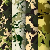 Set of 4 fashion camouflage patterns. Vector illustration. Can be used for textile or print design.Forest,. Desert, Jungle, Urban camo texture Royalty Free Stock Photo