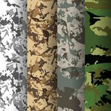Set of 4 fashion camouflage patterns. Vector illustration. Can be used for textile or print design. Forest, Desert, Jungle, Urban camo texture Stock Images