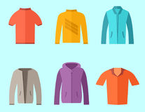 Set of fashion collection clothing wardrobe Stock Photos