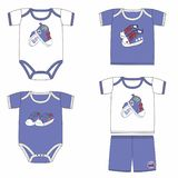 Set of fashion costumes for babies with prints with sport shoes. Trendy tracksuits for baby boy in blue and white colors. royalty free illustration