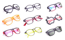 Set of fashion eye glasses isolated on white Stock Photo