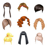 Set of fashion female hair styles. Royalty Free Stock Photography