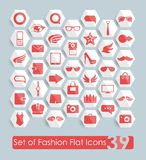 Set of fashion flat icons Stock Photos