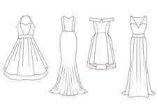 Set of Fashion Flat templates Sketches - Woman dresses Stock Photo