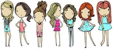 Set with fashion girls. Set with cartoon fashion girls royalty free illustration