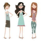 Set with fashion girls Royalty Free Stock Images