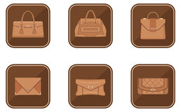 Set of fashion icons with bags Stock Photography