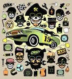Set of fashion icons and symbols with race car, hipster skulls Stock Photography