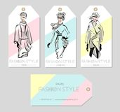 Set of fashion labels with beautiful women in sketch style, Paris, London, Milan business card, beauty girls hand drawn  ill. Ustration art Stock Photography