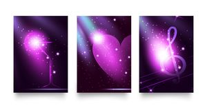 Set fashion lights backgrounds in trendy uv or violet colors. Night party style glow neon disco club. Graphic template with martin. Set fashion lights Royalty Free Stock Images