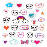 Set of fashion patch badges with cute pandas, hearts, stars and bubbles. Royalty Free Stock Image