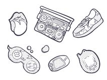 Set of fashion patches, Sneakers, joystick, lips, devices, fun icons vectorin 90s retro concept. Doodle style stock illustration
