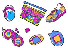 Set of fashion patches, Sneakers, joystick, sneaker, lips, devices, fun icons vectorin 90s retro concept. Doodle style royalty free illustration