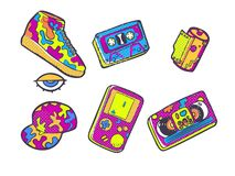 Set of fashion patches, Sneakers, video cassette, cap, audio cassette, fun icons in 90s retro concept. Doodle style royalty free stock photography