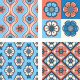 Set of fashion pattern with abstract flowers Stock Photo