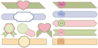 Set of fashion ribbons and fabric badges. Stock Photography