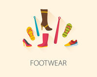 Set of fashion shoes and accessories. Flat design vector style Royalty Free Stock Photos