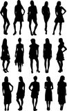 Set of Fashion Silhouettes Stock Photos