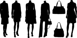 Set of fashion  silhuettes Stock Photography