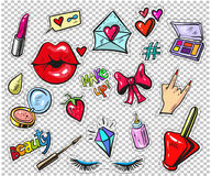 Set of fashion stickers, pins, patches in cartoon 80s-90s comic style. pop art. Fashion patch badges with lips, hearts, speech bubbles, stars and other elements royalty free illustration