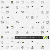 Set of fashion stickers Stock Photos
