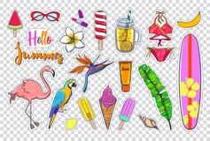 Set of fashion Summer stickers stock illustration