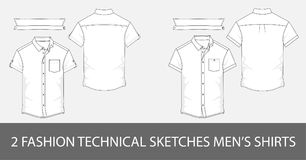 Set of Fashion technical sketches men`s shirts with short sleeves in vector. Stock Photos
