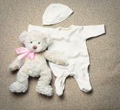 Set of fashion trendy stuff and teddy bear for newborn baby Stock Photo