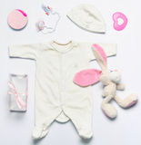 Set of fashion trendy stuff and toys for newborn baby girl in so Stock Photos