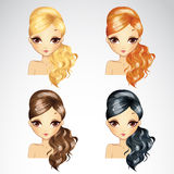 Set Of Fashion Wave Hair Styling Royalty Free Stock Photography