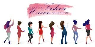 Set Fashion Woman Collection Vector Illustration. royalty free illustration