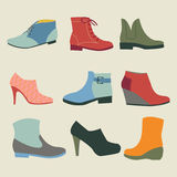 Set of fashion  woman  footwear illustration Royalty Free Stock Photo