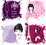 Set of Fashion Woman image retro cards Stock Images