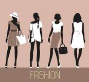 Set of Fashion women. Set of Fashion women silhouettes vector illustration