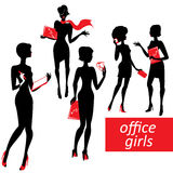 Set of fashionable business girls silhouettes on a Royalty Free Stock Photo