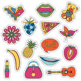 Set of fashionable cute patches elements stock illustration