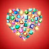 Set of fashionable diamonds of different colors. stock illustration